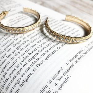 GOLD DIAMOND PAVE STATEMENT HOOPS EARRINGS SET